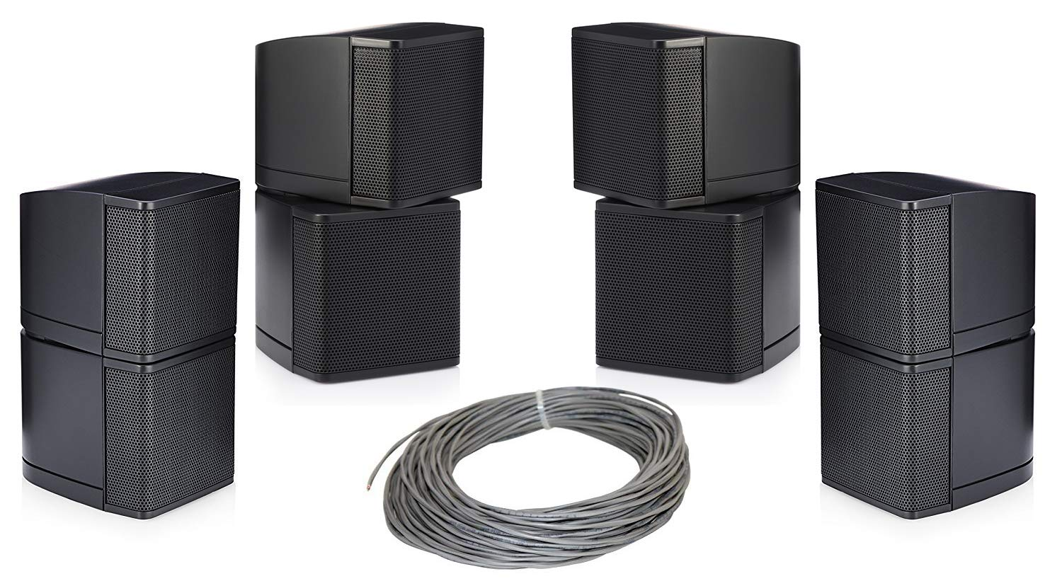 Pure Resonance Audio MC2.5B Mini Cube 2.5 inch Speaker Bundle with Installation Wire - Home Value Pack (5 Items) (Black)