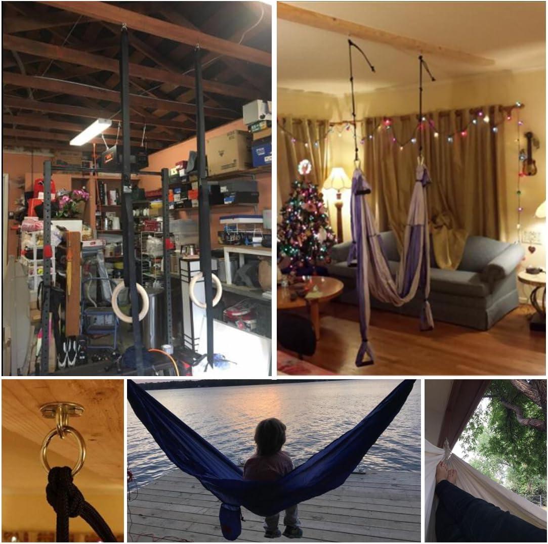 Schaukelstuhl Edelstahl-Rundmontage Yoga Indoor Outdoor Entspannung Boxsack Feder-Karabinerhaken Befestigungsschrauben-Set f/ür H/ängematte CYFIE H/ängematten-Haken-Set Tragkraft: 1400 lb