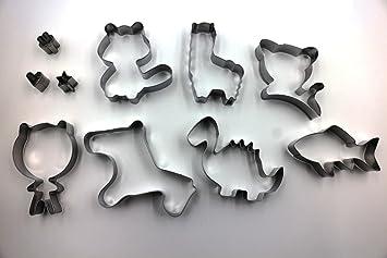 Juego de 10 cortadores de galletas, acero inoxidable, molde para hacer manualidades con forma