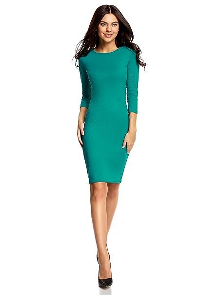 oodji Collection Mujer Vestido de Punto con Escote Gota en la Espalda, Verde, ES