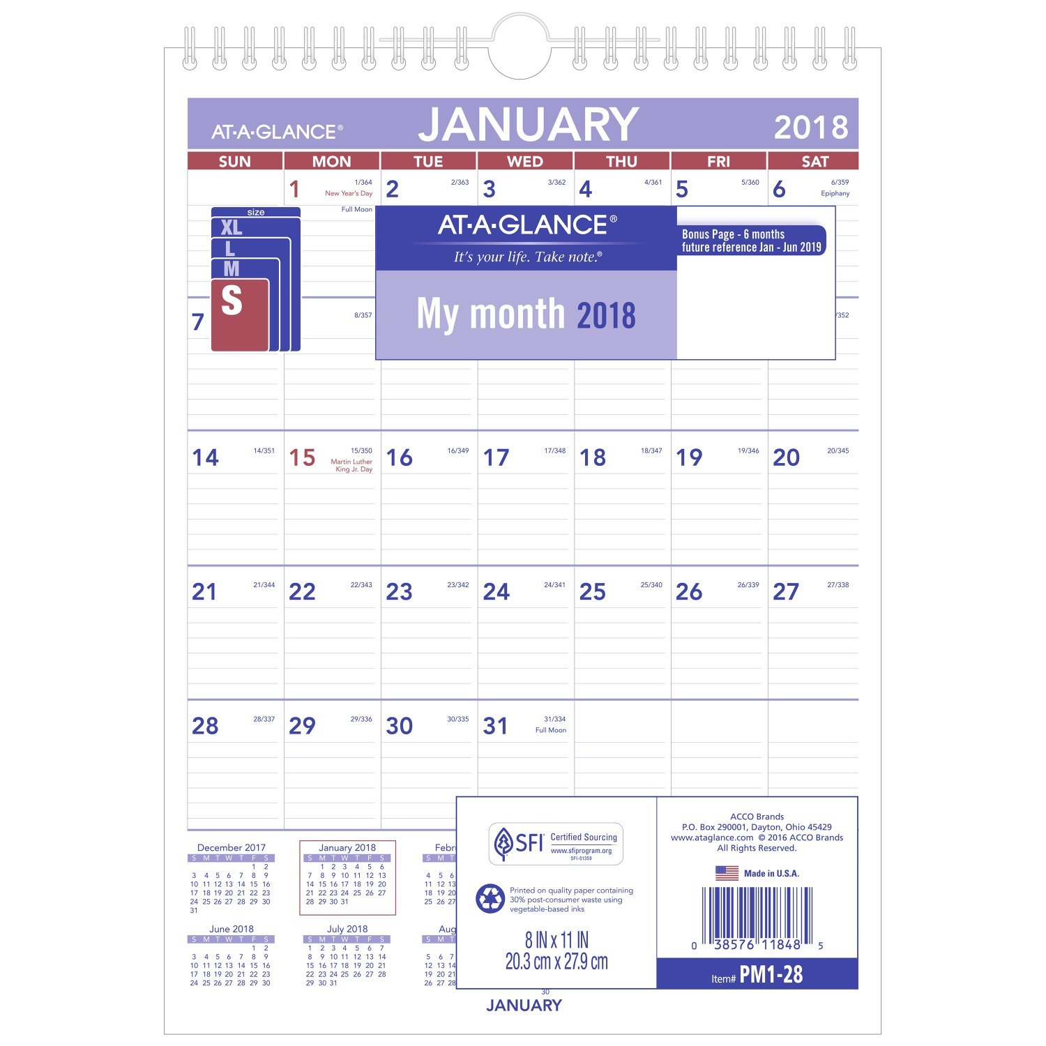 """Amazon.com : AT-A-GLANCE PM128-18 Monthly Wall Calendar, January 2018 -  December 2018, 8"""" x 11"""", Wirebound, Mini Size (PM128) : Office Products"""