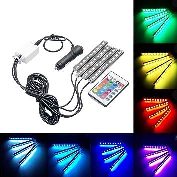 MASO - Tira de luces LED para coche (4 unidades, 36 luces LED para