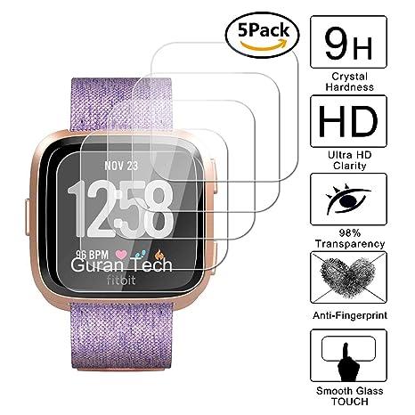 Guran [5-Unidades] Protector de Pantalla Vidrio Cristal Templado para Fitbit Versa Health & Fitness Smartwatch Cristal Vidrio Templado Film (9H, 2.5D ...