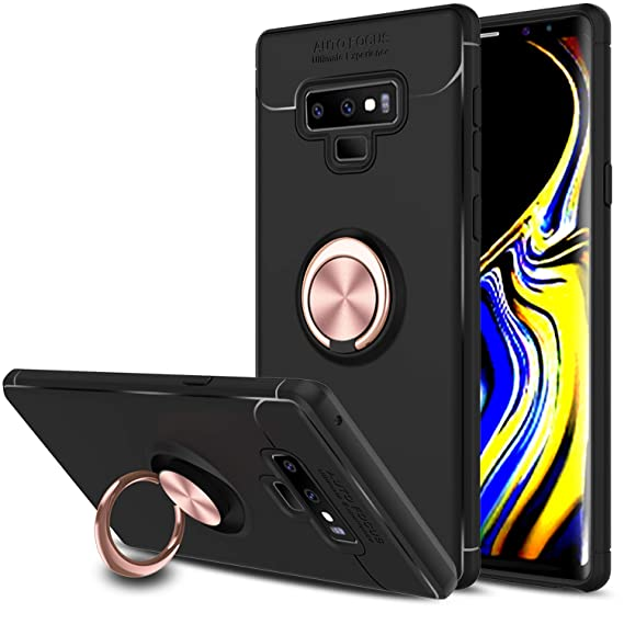 low priced 93b96 a0de3 Elegant Choise Galaxy Note 9 Case, Galaxy Note 9 Phone Case, Hybrid Slim  Durable Soft 360 Degree Rotating Ring Kickstand Protective Case with  Magnetic ...