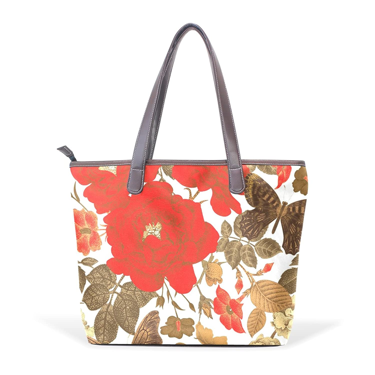 Womens Leather Tote Bag,Hand Drawn Elegant Floral Butterfly,Large Handbag