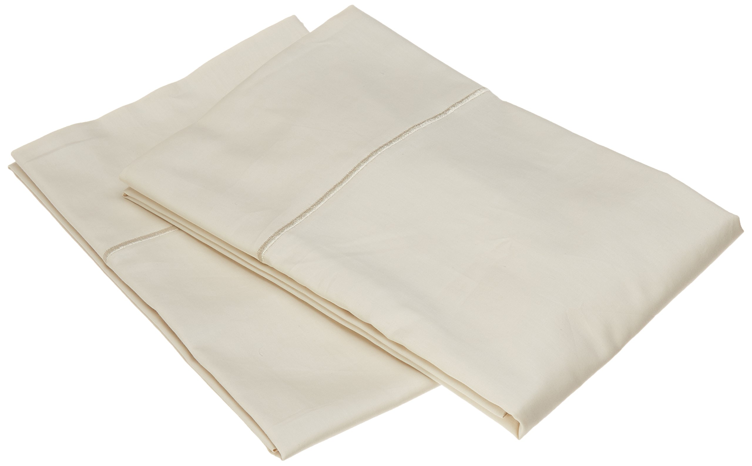 Charisma 310 Thread Count Classic Solid Cotton Sateen Standard Pillowcase Pair in Almond Milk