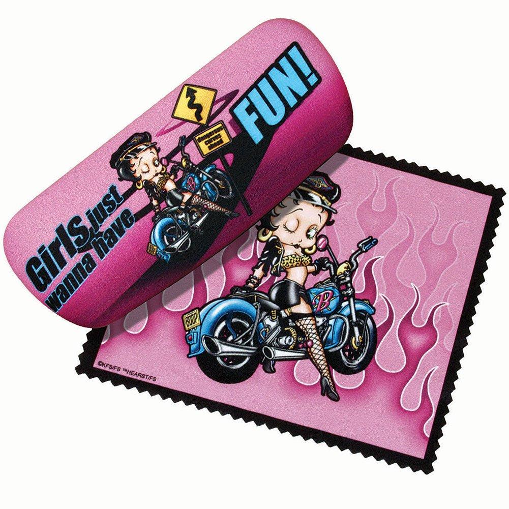 Betty Boop Eyeglasses Case W/ Cloth - Biker Flames Fun Girls Glasses Holder SPOONTIQUES INC
