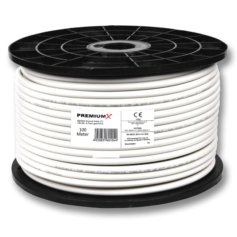 100 m PremiumX profesional cable coaxial 130 db 4-capas, cobre puro vía cable 100 m 135 120 110 + 10 F-connettore 7,5 mm color ORO incluye