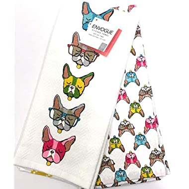 ENVOGUE French Bulldog Frenchie Kitchen Towel Set | Set of 2 Coordinating Colorful 100% Cotton | Soft and Absorbent