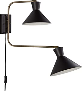 """Amazon Brand – Rivet Mid-Century Swiveling Long Arms Pivoting Head Plug-In, Hardwire, or 2-in-1 Option Wall Sconce Light with Bulb, 19.5""""H, Matte Black with Antique Brass"""