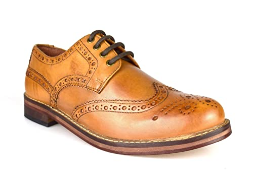 Red Tape Meath Tan Brown All Leather Brogue Men s Formal Shoes   Amazon.co.uk  Shoes   Bags d4cbede11bb1