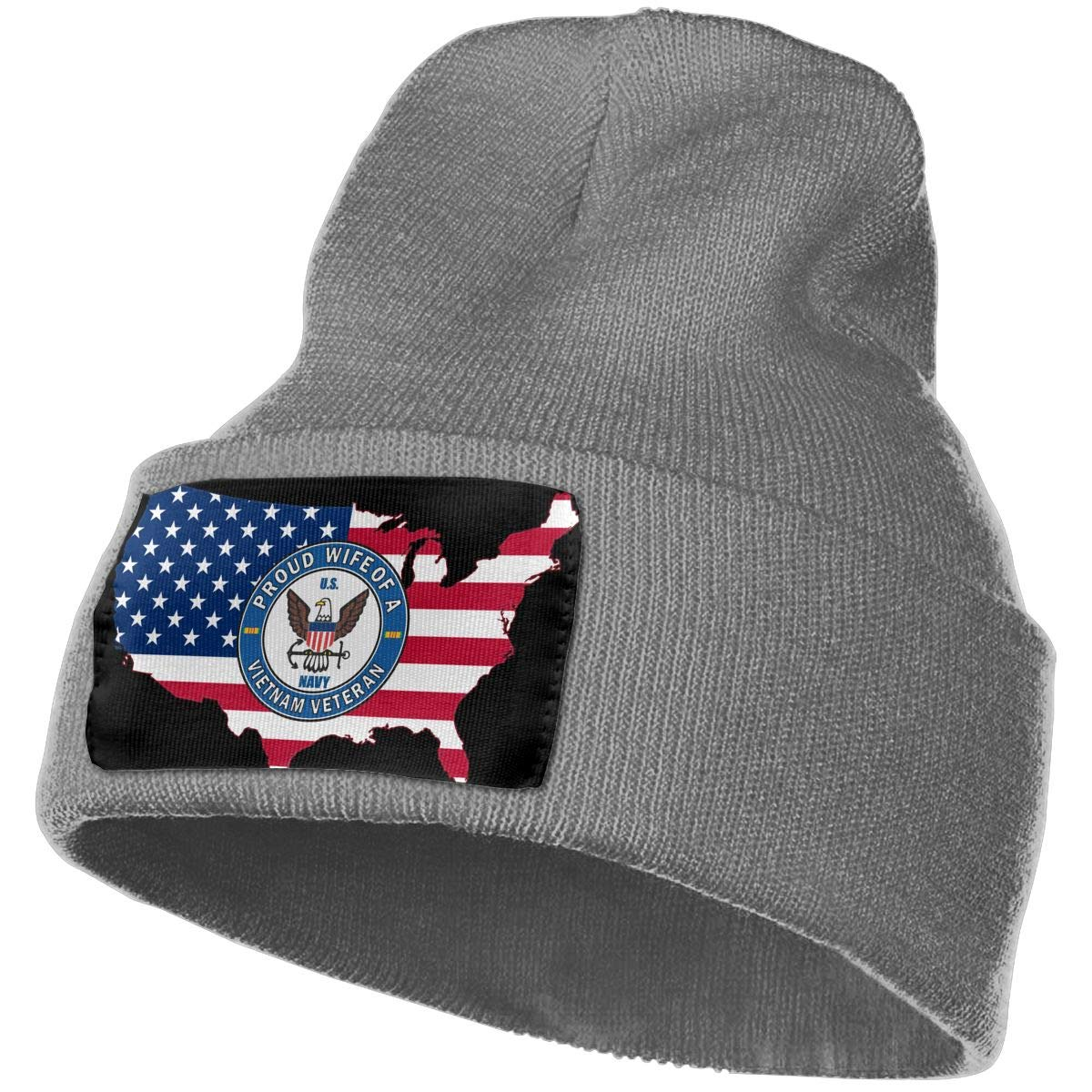 American Flag Map Navy Proud Wife of A Vietnam Veteran Men/&Women Warm Winter Knit Plain Beanie Hat Skull Cap Acrylic Knit Cuff Hat