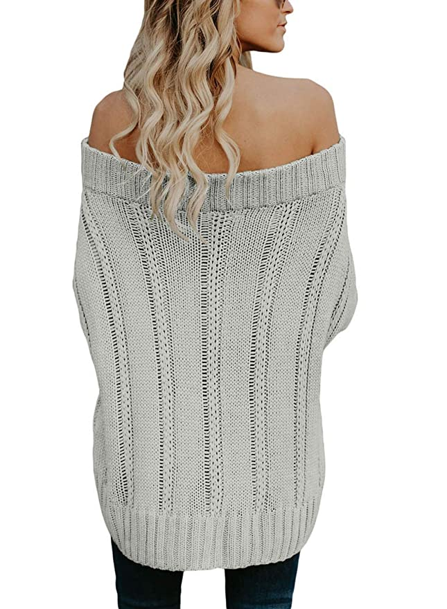00f464128c1 Astylish Women s Sexy Off Shoulder Loose Cable Knit Sweater Pullover at  Amazon Women s Clothing store