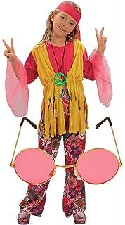 1960s Hippie Dude 4-12 Boys Fancy Dress 60s Hippy Kids Child Costume Outfit 70s