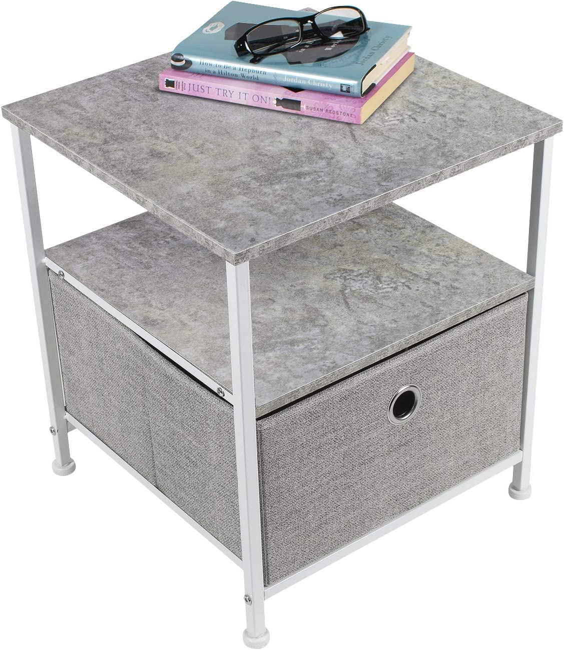Sorbus Nightstand 1-Drawer Shelf Storage- Bedside Furniture Accent End Table Chest for Home, Bedroom, Office, College Dorm, Steel Frame, Wood Top, Easy Pull Fabric Bins Gray