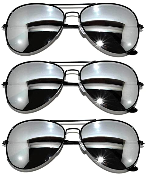 Amazon.com: Aviator anteojos de sol (3pk de plata): Shoes