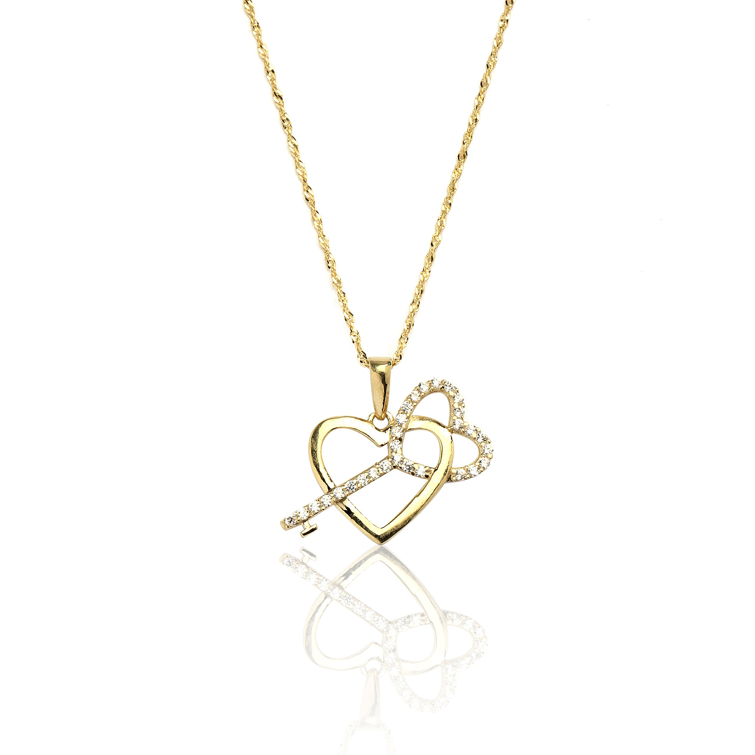 18'' 10k Yellow Gold Heart and Key Cubic Zirconia Pendant Necklace for Women and Girls