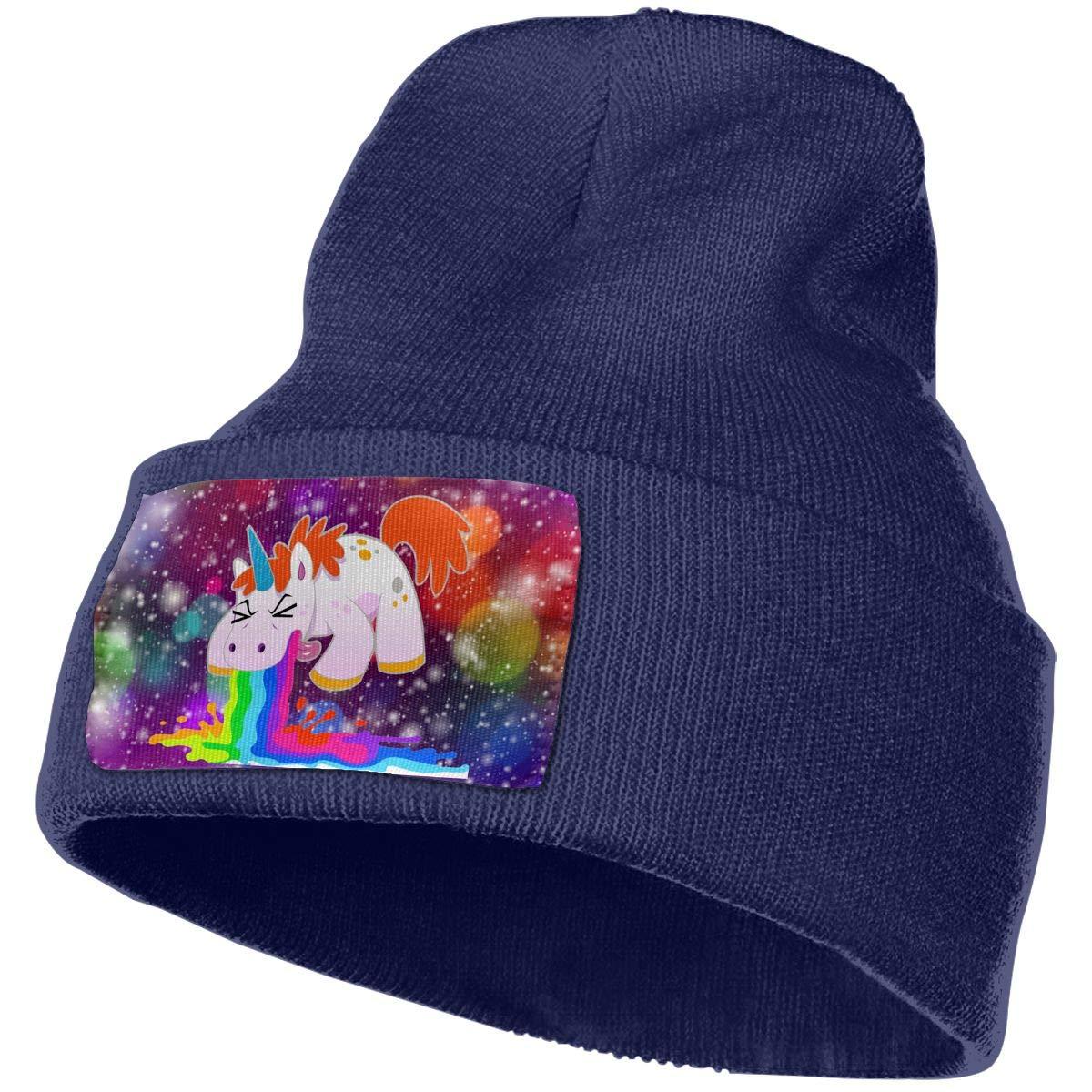 Unicorn I Puke Rainbows Men/&Women Warm Winter Knit Plain Beanie Hat Skull Cap Acrylic Knit Cuff Hat