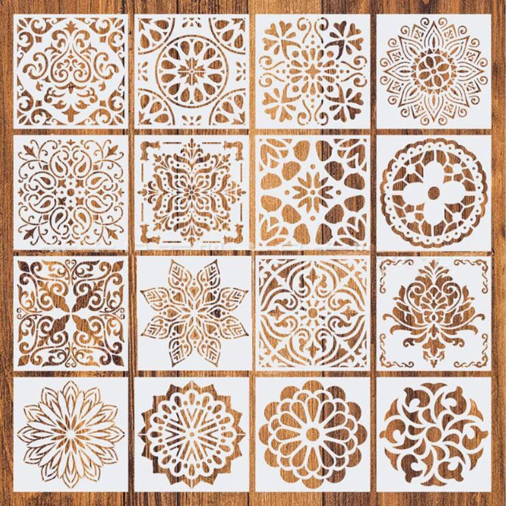 16 Pack Stencils for Painting (6x6 Inch) Drawing Stencils Mandala Template for DIY Rock Painting Art Projects