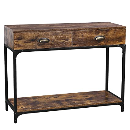 Excellent Vasagle Industrial Console Table Entryway Sofa Table With 2 Bralicious Painted Fabric Chair Ideas Braliciousco