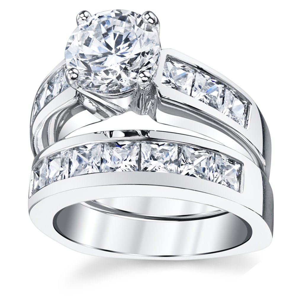 Sterling Silver Bridal Set Engagement Wedding Ring Bands with Round and Princess Cut Cubic Zirconia 7 by Bonndorf (Image #3)