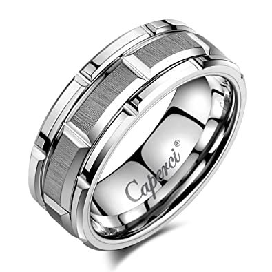 caperci 8mm brick pattern tungsten carbide wedding ring for men size 8 - Tungsten Wedding Rings