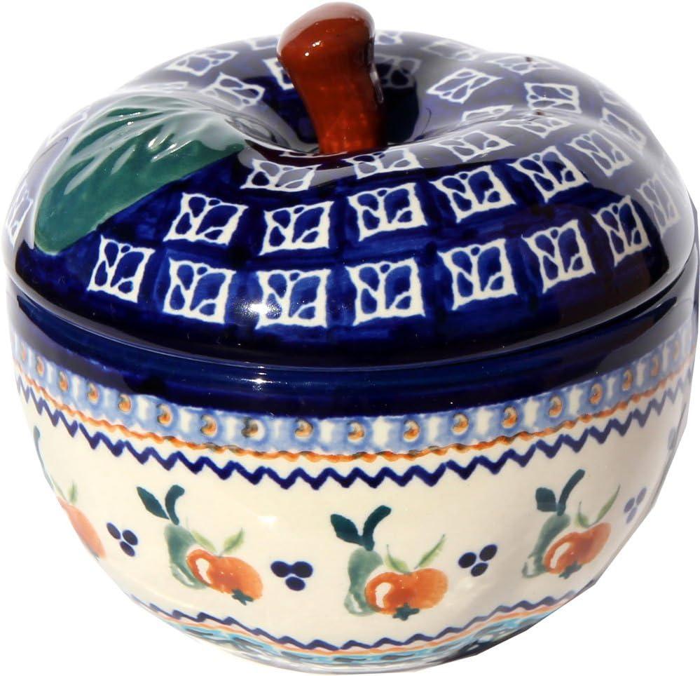 Polish Pottery Apple Baker From Zaklady Ceramiczne Boleslawiec #1425-du71 Unikat Pattern, Dimensions: Width: 4.9