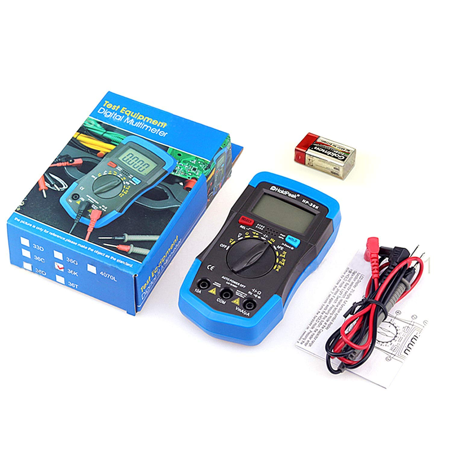 Holdpeak 36K Digital Multimeter Electronic Amp Volt Ohm Multi Meter Auto Range 4000 Counts with AC//DC voltage /& Current Capacitance Frequency Diode hFE test with LCD Backlit