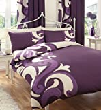 PRINTED DOUBLE BED DUVET DOONA QUILT COVER BEDDING SET PILLOWCASE GRANDEUR BERRY