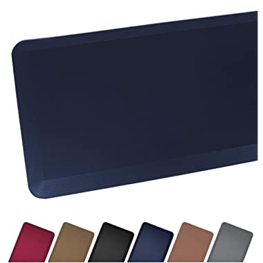 Anti Fatigue Comfort Floor Mat By Sky Mats - Commercial Grade Quality Perfect for Standup Desks, Kitchens, and Garages - Relieves Foot, Knee, and Back Pain, 20x39 Inch, Dark Blue