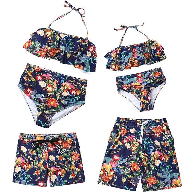 Puseky Little Big Sisters Trajes a Juego Camisa Top Floral Borla Pompom Pantalones Cortos Conjunto de Ropa