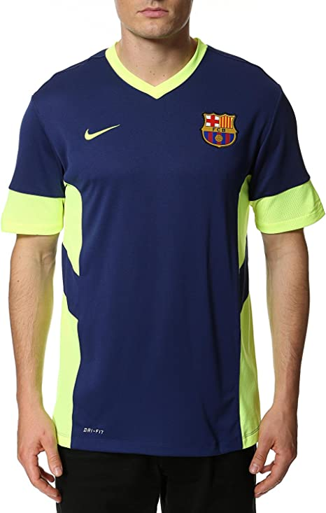 Nike Camiseta FC Barcelona Academy Entreno -Marino/Lima- 2014-15: Amazon.es: Deportes y aire libre