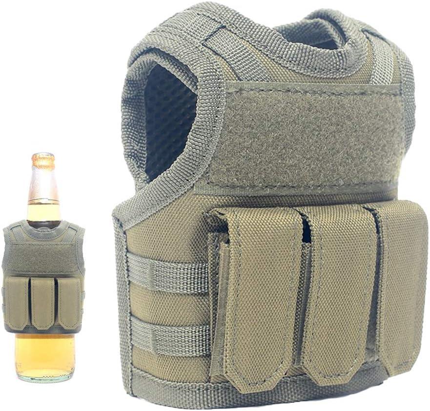 Lightbare Mini Tactical Vest Bottle Beer Vest Molle with Adjustable Straps, Beverage Holder for 12oz or 16oz Cans and Bottles, 7 Colors (Army Green with Pockets)