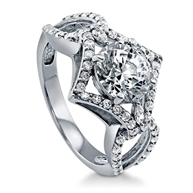 BERRICLE Rhodium Plated Sterling Silver Round Cut Cubic Zirconia CZ Solitaire Engagement Ring Set on7Euh