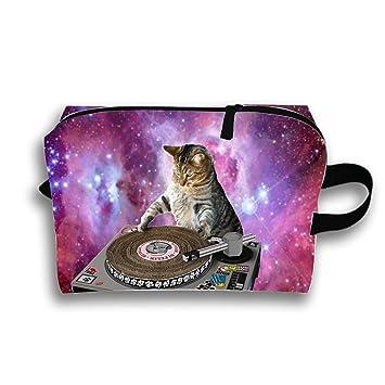 Amazon Com Galaxy Cat Wallpaper Travel Cosmetic Bag Portable