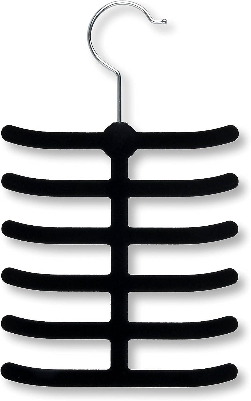 Black Honey-Can-Do HNG-01955 Velvet Touch Tie Hanger 2-Pack