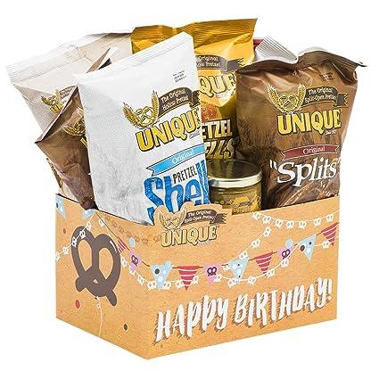 Unique Pretzels Feliz cumpleaños Globos & pastel cesta ...