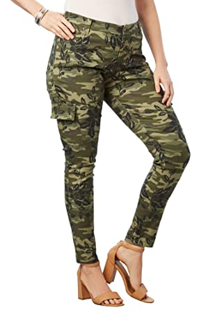 833d4ba8922 Roamans Women s Plus Size Glam Skinny Cargo Pant at Amazon Women s ...