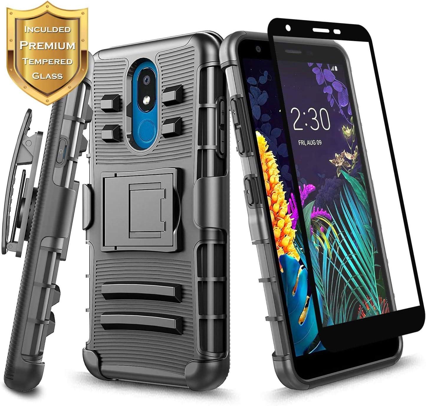 E-Began Case for LG Aristo 4+ Plus, Journey LTE/Prime 2/Neon Plus/Escape Plus/Arena 2/Tribute Royal/K30 2019 w/Tempered Glass Screen Protector, Belt Clip Holster Armor Defender Shockproof Case -Black