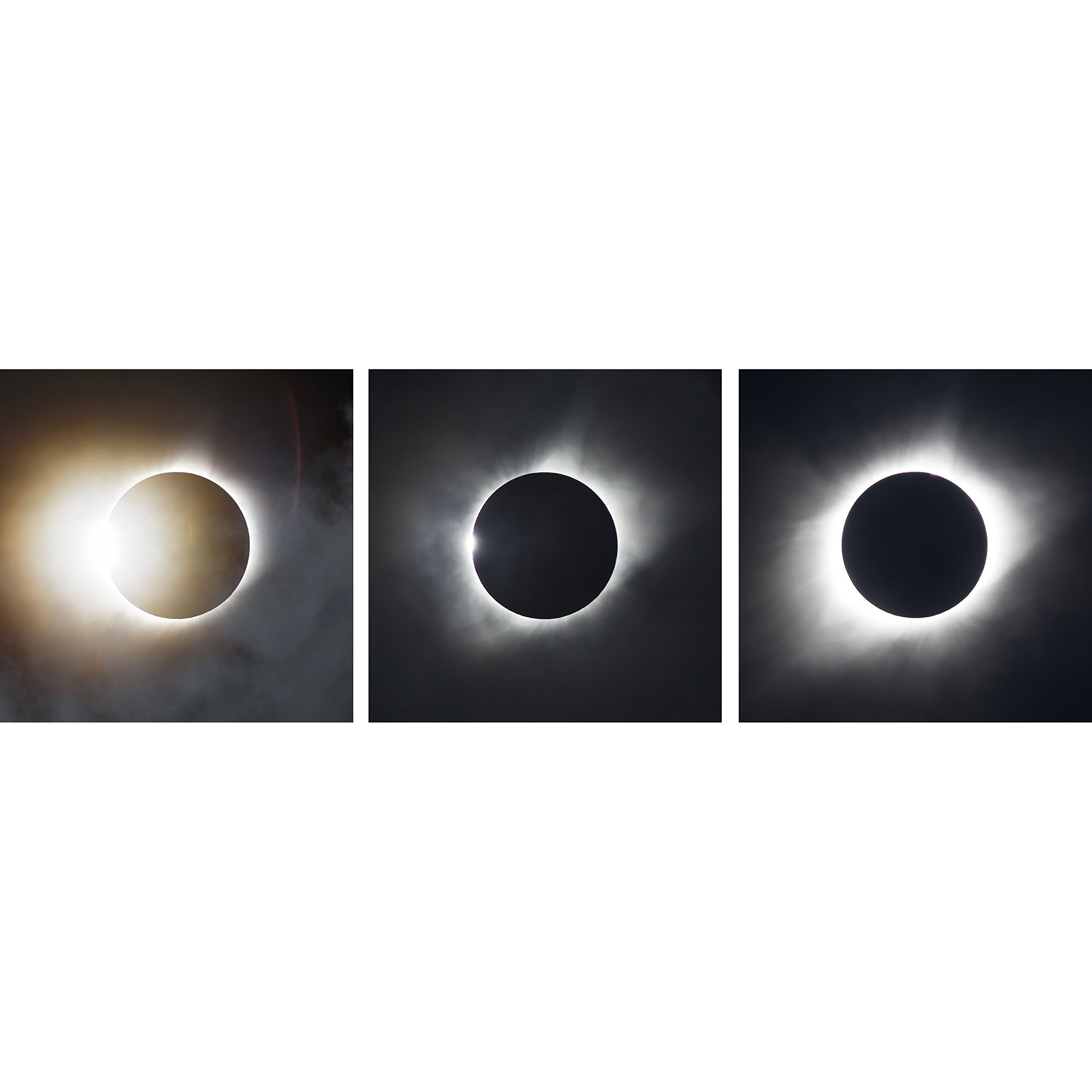Set of Three 12x12 Photos ''2017 Total Solar Eclipse'' by TravLin Photography