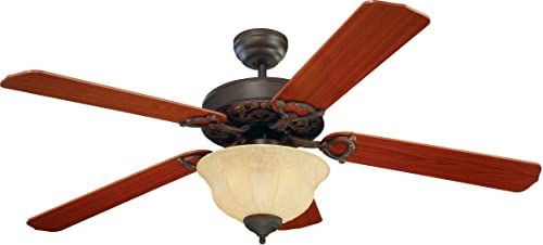 Monte Carlo 5OR52RBD-L Flush Mount, 5 Dark Blades Ceiling fan with 59 watts light, Roman Bronze