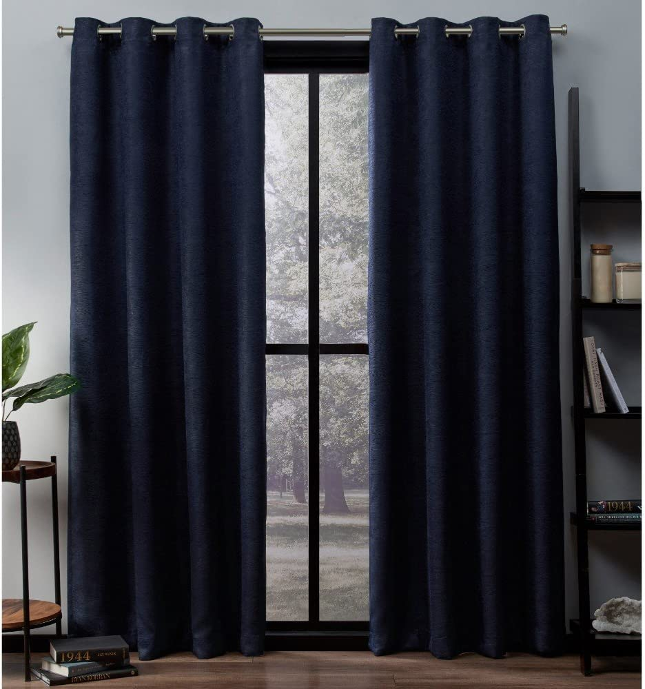 Exclusive Home Curtains Oxford Textured Sateen Thermal Window Curtain Panel Pair with Grommet Top, 52x108, Navy, 2 Count