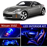 nissan 350z 2003-2008 led premium blue light interior package kit ( 9 pcs )