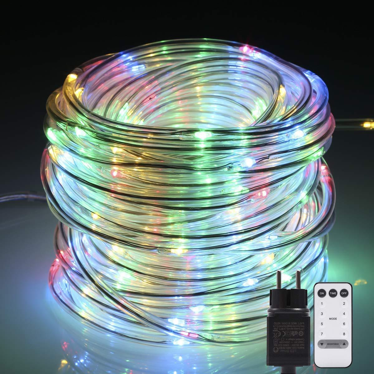 Tubo luminoso! B-right 14M 120 LED Tubo led luminoso con telecomando, tubo a batteria Bianco caldo, B-right 8 modalità d'illuminazione, Tubo led all'aperto IP67 con funzione di memoria per feste Natale,Pasqua, Matrimonio ecc.