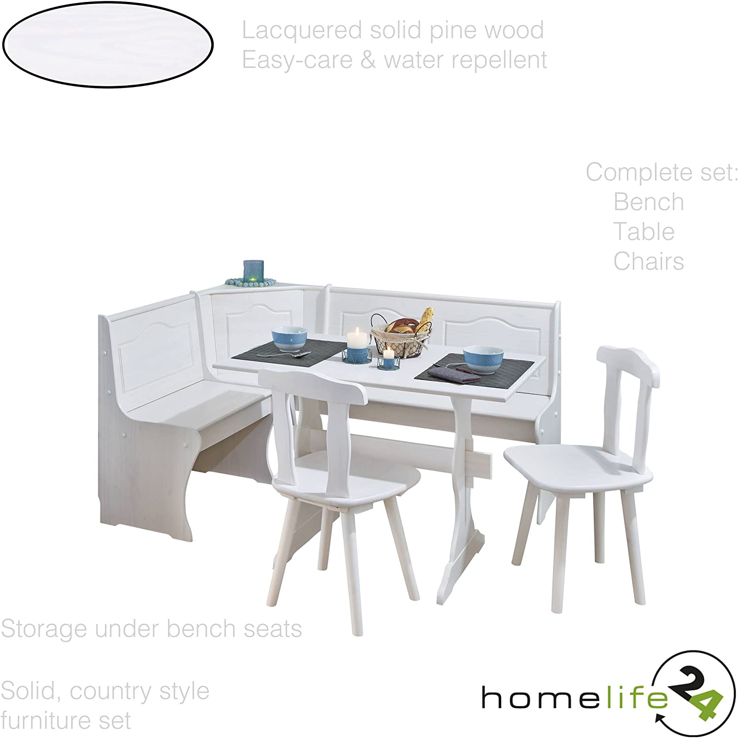 H24living Kitchen Dining Table Chairs Wood Dining Room Set Breakfast Table Set Corner Dining Set 1 Rustic Dining Table Bench Table 2 Chairs Bench Storage Solid Pine Wood White Finish Amazon Co Uk Kitchen