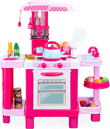 Amazon Com Best Choice Products Pretend Play Kitchen Toy Set For Kids With Water Vapor Teapot 34 Accessories Sounds Realistic Design Utensils Oven Food Sink Pink Toys Games
