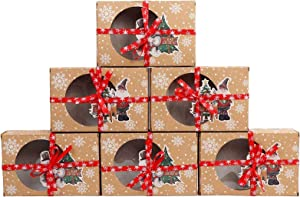 Christmas Cookie Box with Window,Food Grade Kraft Paper Baking Box with Snowman Santa Design for Packaging Cakes, Biscuits, Desserts, Donuts, Pastries at Christmas Parties Set of 12(2 design)