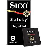 Sico Safety Condones de hule látex natural cartera con 9 piezas