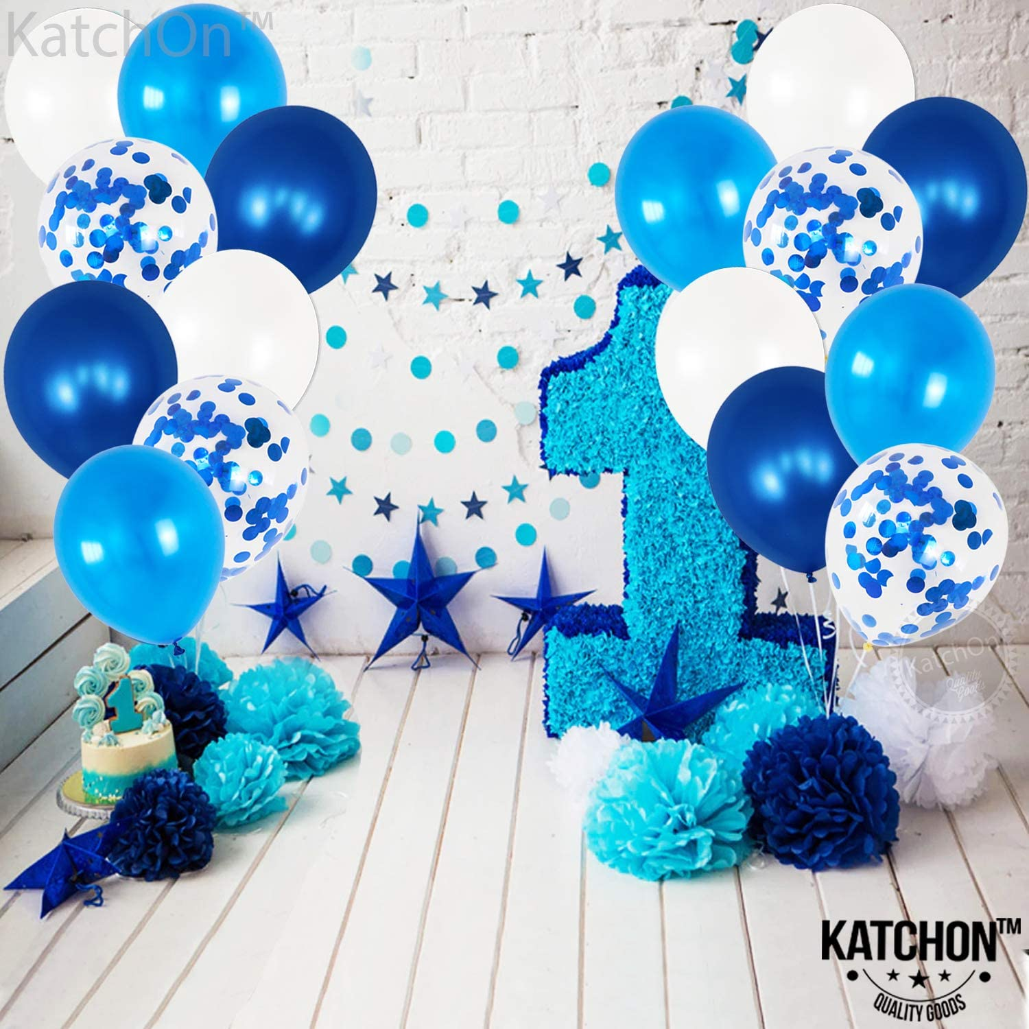Light Blue Navy Blue Balloons and White Balloons Set Balloons Blue and White Confetti Decor Latex White Gray Blue Balloons Party Decoration for Birthday Graduation or Bridal Shower Pack of 60
