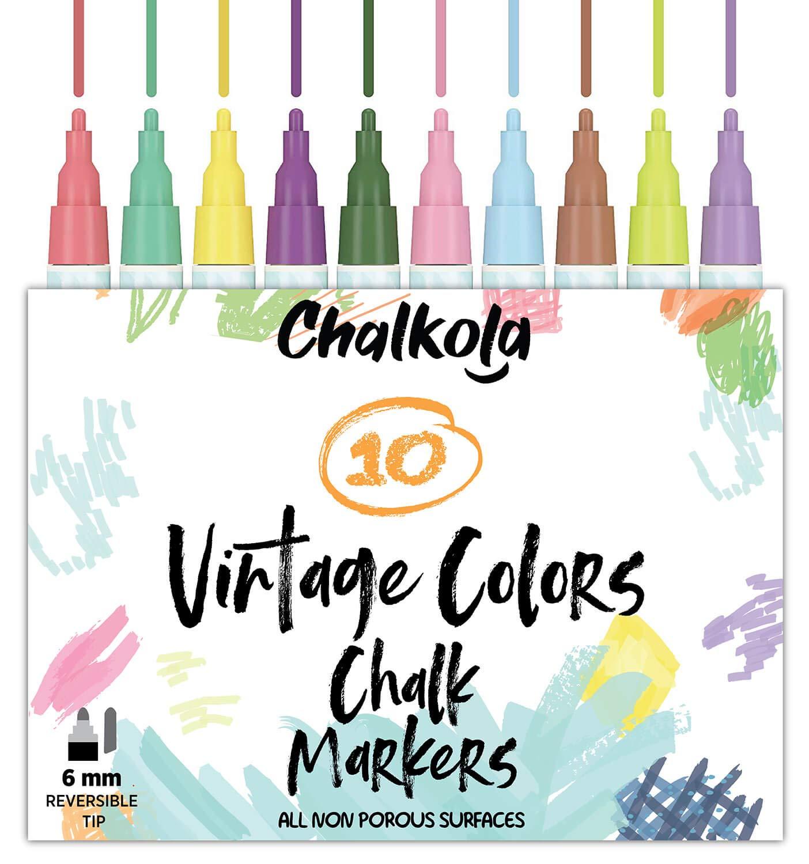 Marcadores de tiza líquida para pizarras (10 colores vintage) | Seguro para niños, no tóxico, sin polvo y borrable | Revés reversible de 6 mm y punta ...